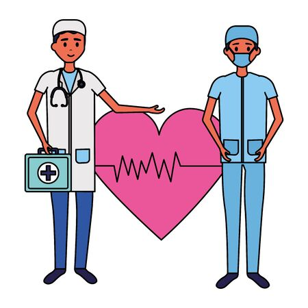 medical people staff professional heartbeat suitcasevector illustration Illustration