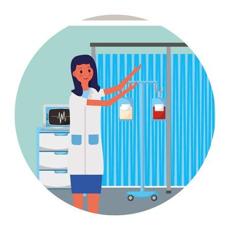 female doctor character consultation room vector illustration