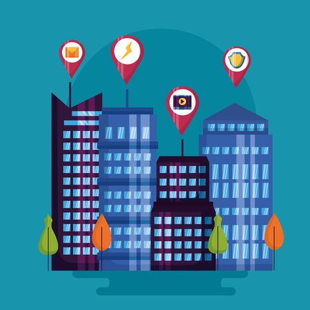 online control things digital buildings smart city vector illustration Stock Illustratie