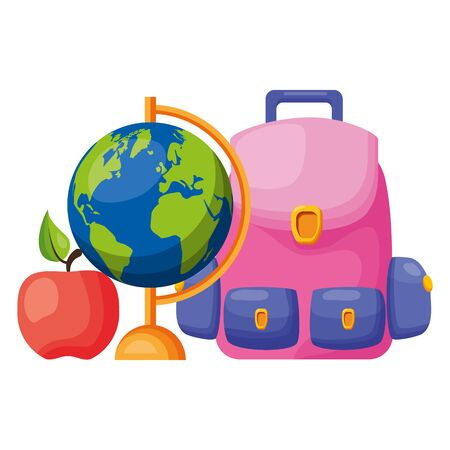 backpack world map apple back to school vector illustration