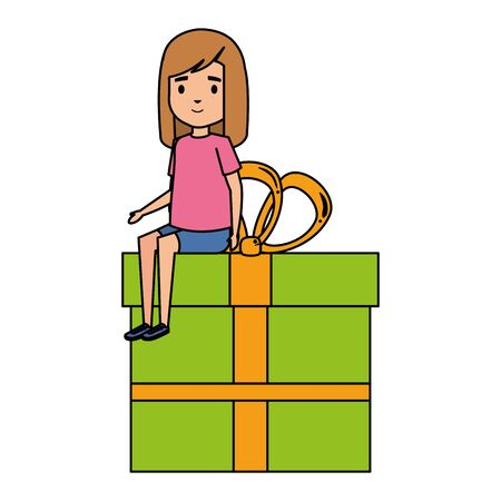 cute little student girl seated in giftbox vector illustration design