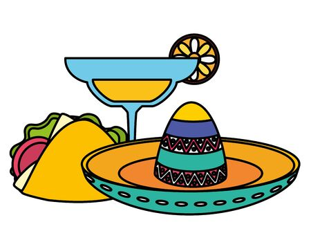 mexican hat with cocktail and taco vector illustration design  イラスト・ベクター素材