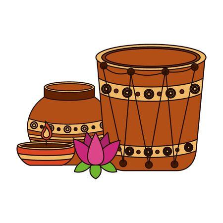 indian ceramic pot folk with drum and lotus flower vector illustration design Ilustração