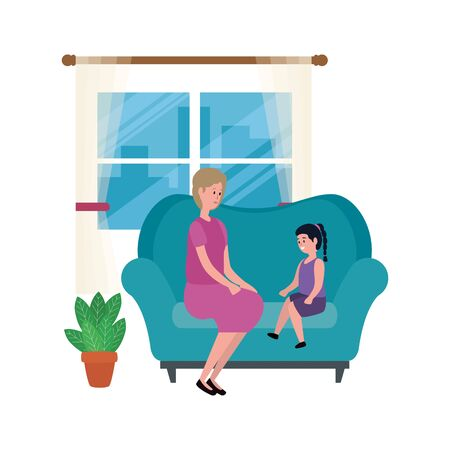 grandmother with granddaughter in the sofa characters vector illustration design