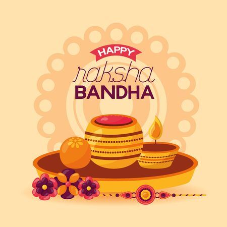 happy raksha bandhan candles flowers celebrate day vector illustration