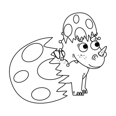 newborn triceratops breaking the shell vector illustration design  イラスト・ベクター素材