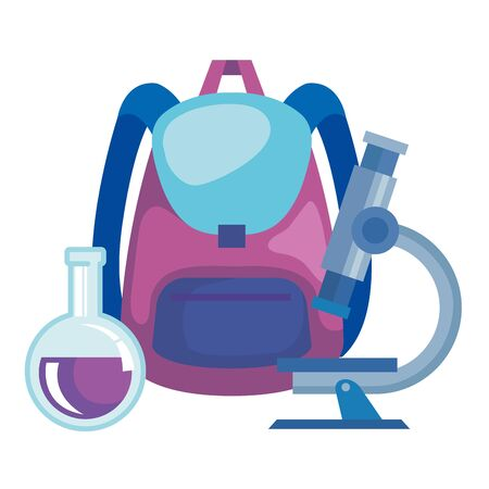 school bag supply with microscope and tube test vector illustration design Çizim