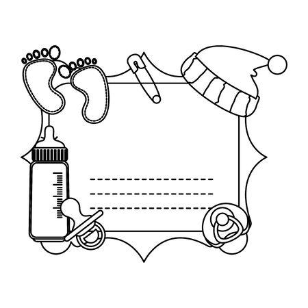 baby shower card frame invitation vector illustration design Standard-Bild - 130419973