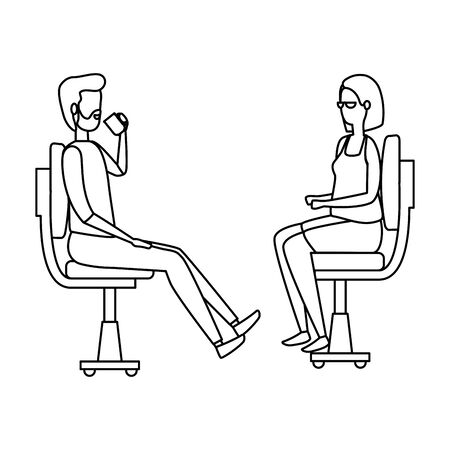 elegant business couple workers seated in office chairs vector illustration design