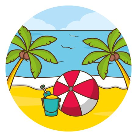 vacations beach palm sea ball bucket vector illustration