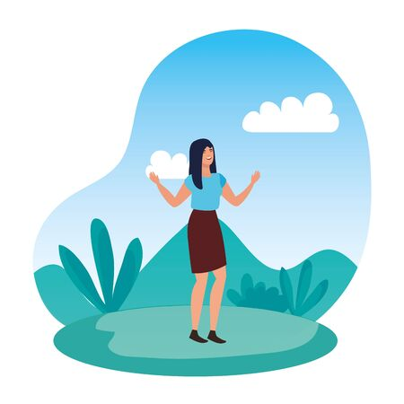 happy young woman in the landscape vector illustration design Иллюстрация