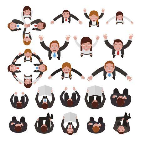 group of business people bundle characters vector illustration design Çizim