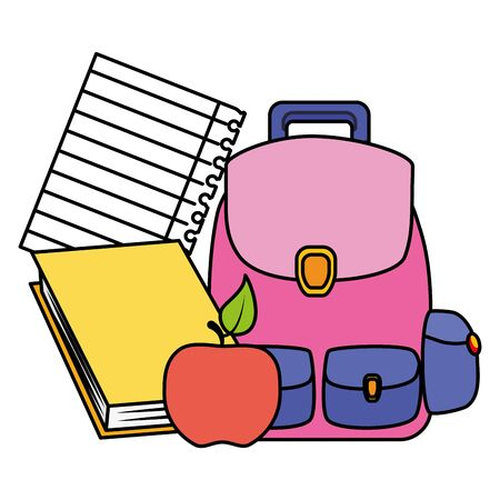 backpack apple book sheet back to school vector illustration