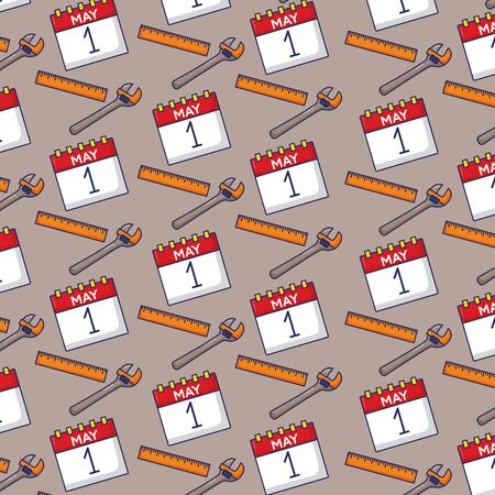 calendar wrench tools background labour day vector illustration Illustration