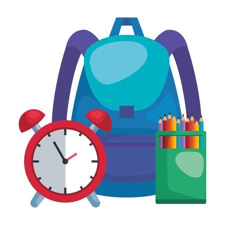 school bag with alarm clock and colors pencils vector illustration design Çizim