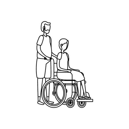 cute grandparents couple in wheelchair vector illustration design