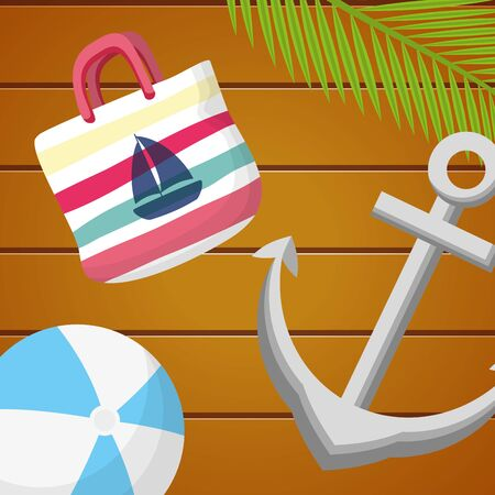 summer time holiday anchor bag and beachball on wooden background vector illustration  イラスト・ベクター素材