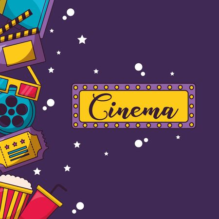 singboard lights film elements cinema movie vector illustration
