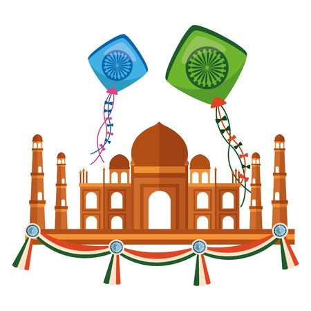 taj mahal indian mosque with kites flying vector illustration design