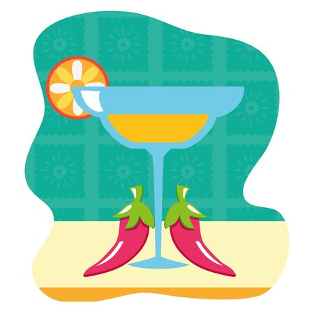 margarita cocktail cup drink with chili peppers vector illustration design