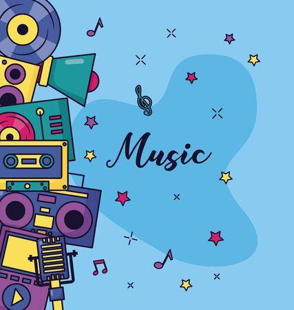 synthesizer turntable cassette headphones speaker music vector illustration