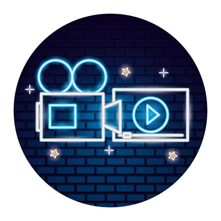projector screen cinema movie time neon vector illustration vector illustration Banque d'images - 130431581