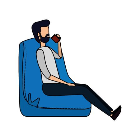 businessman seated in the sofa drinking coffee vector illustration design