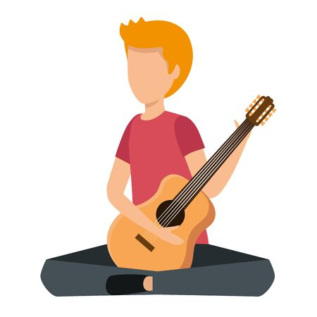 young man playing guitar instrument vector illustration design Stok Fotoğraf - 130431593