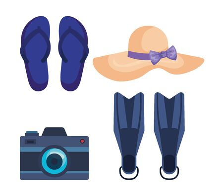 set of flip-flop with hat and camera with fin water equipment over white background vector illustration
