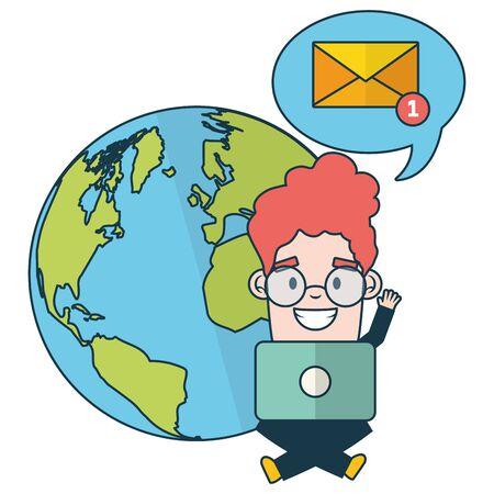 businessman with laptop message letter world send email vector illustration