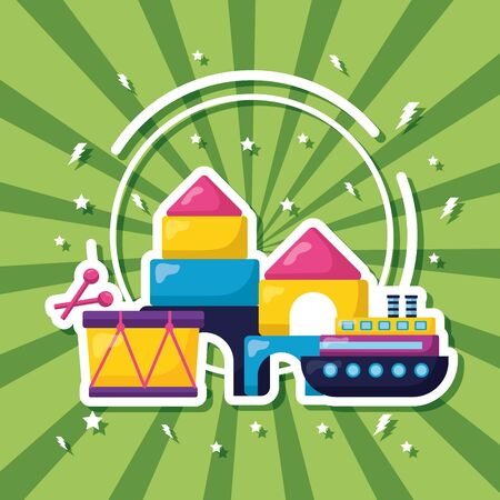kids toys drum boat castle rocket puzzles vector illustration