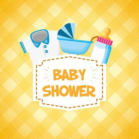 pram milk bottle clothes decoration baby shower card vector illustration