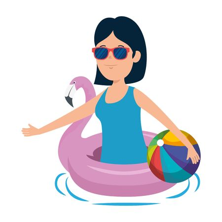 young girl with flemish float and balloon beach toy vector illustration design