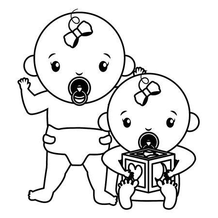 cute little babies girls with cube characters vector illustration design Illusztráció