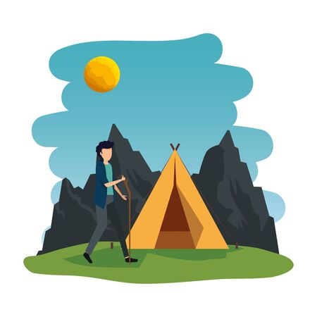 young man in the camping zone vector illustration design