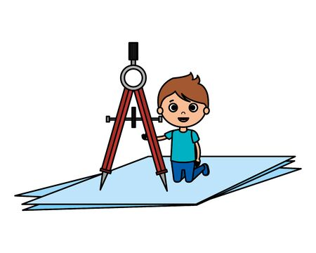 little boy student with compass character vector illustration design