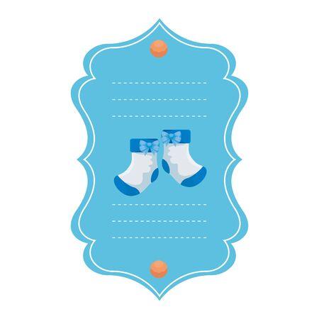 baby shower card with socks vector illustration design Çizim
