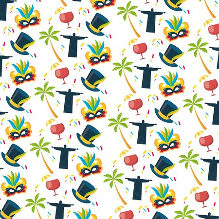 background christ redeemer cocktail mask palm brazil carnival festival vector illustration