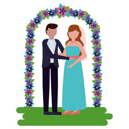 bride and groom arch flowers decoration wedding vector illustration