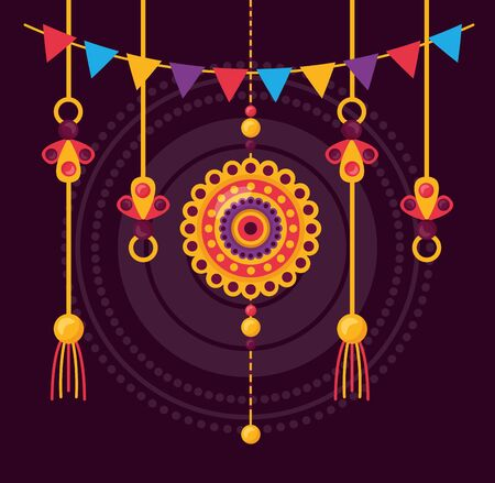 happy raksha bandhan ornament pennants decoration vector illustration  イラスト・ベクター素材