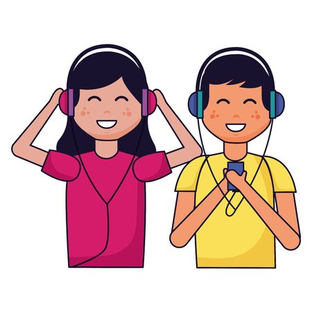 boy and girl with earphones listening music vector illustration