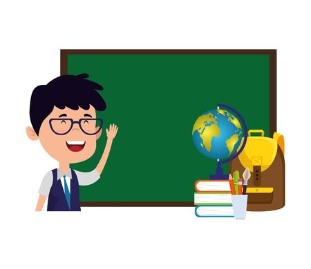 happy student boy with chalkboard and world map vector illustration design