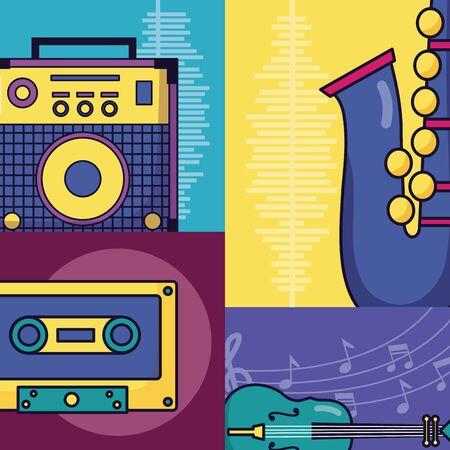 sound amplifier cassette saxophone fiddle festival music poster vector illustration