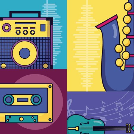 sound amplifier cassette saxophone fiddle festival music poster vector illustration