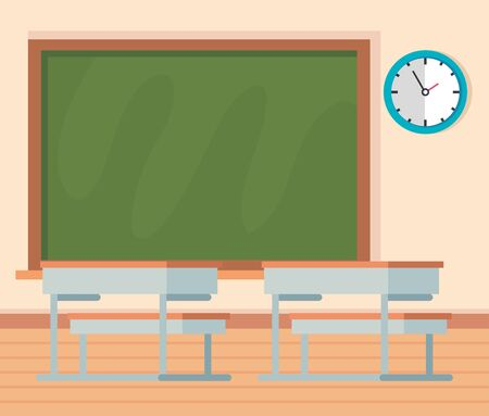 academic classroom with desks and blackboard with clock to school education vector illustration Stock Illustratie