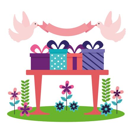 gift boxes celebration on table vector illustration