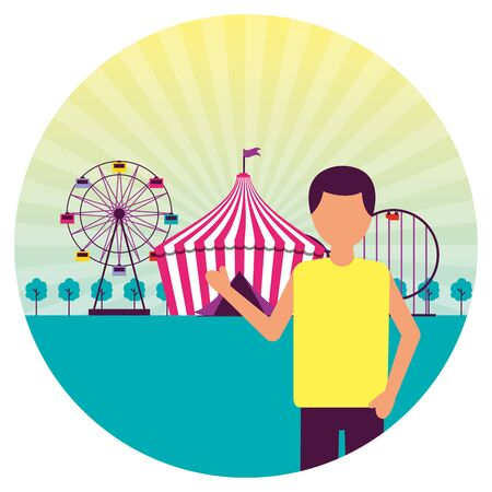 man festival fun fair event amusement park vector illustration