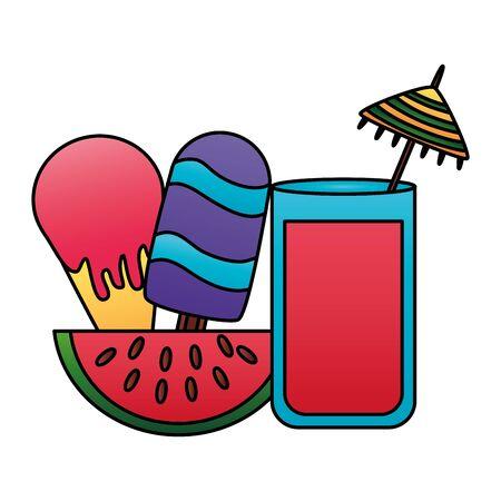 summer time holiday juice watermelon ice cream vector illustration