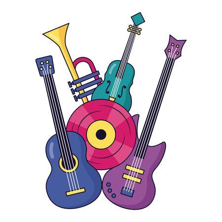 illustrazione vettoriale di musica in vinile violino chitarra elettrica e classica Vettoriali