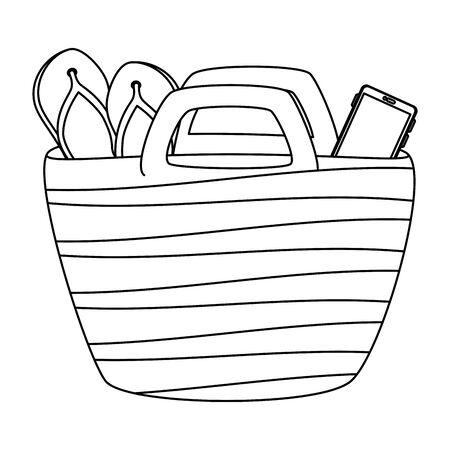 beach bag summer with flip flops and smartphone vector illustration design